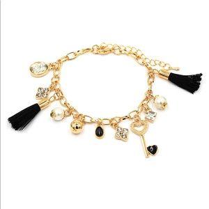 Fashion black heart-shaped key tassel bracelet
